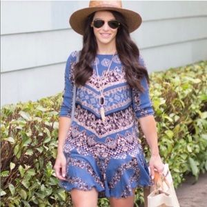 Free People Blue Smooth Talker Tunic Dress